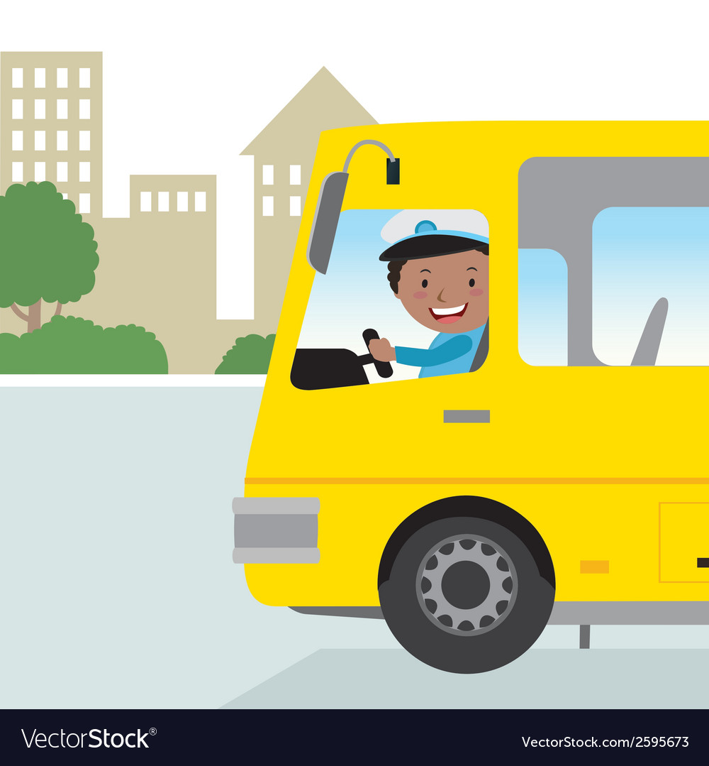 Cheerful bus driver vector | Price: 1 Credit (USD $1)