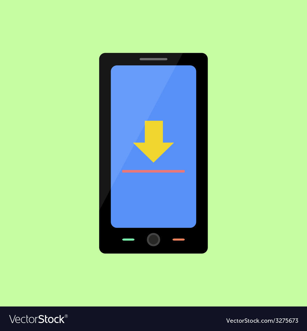 Flat style smart phone with upload sign vector | Price: 1 Credit (USD $1)