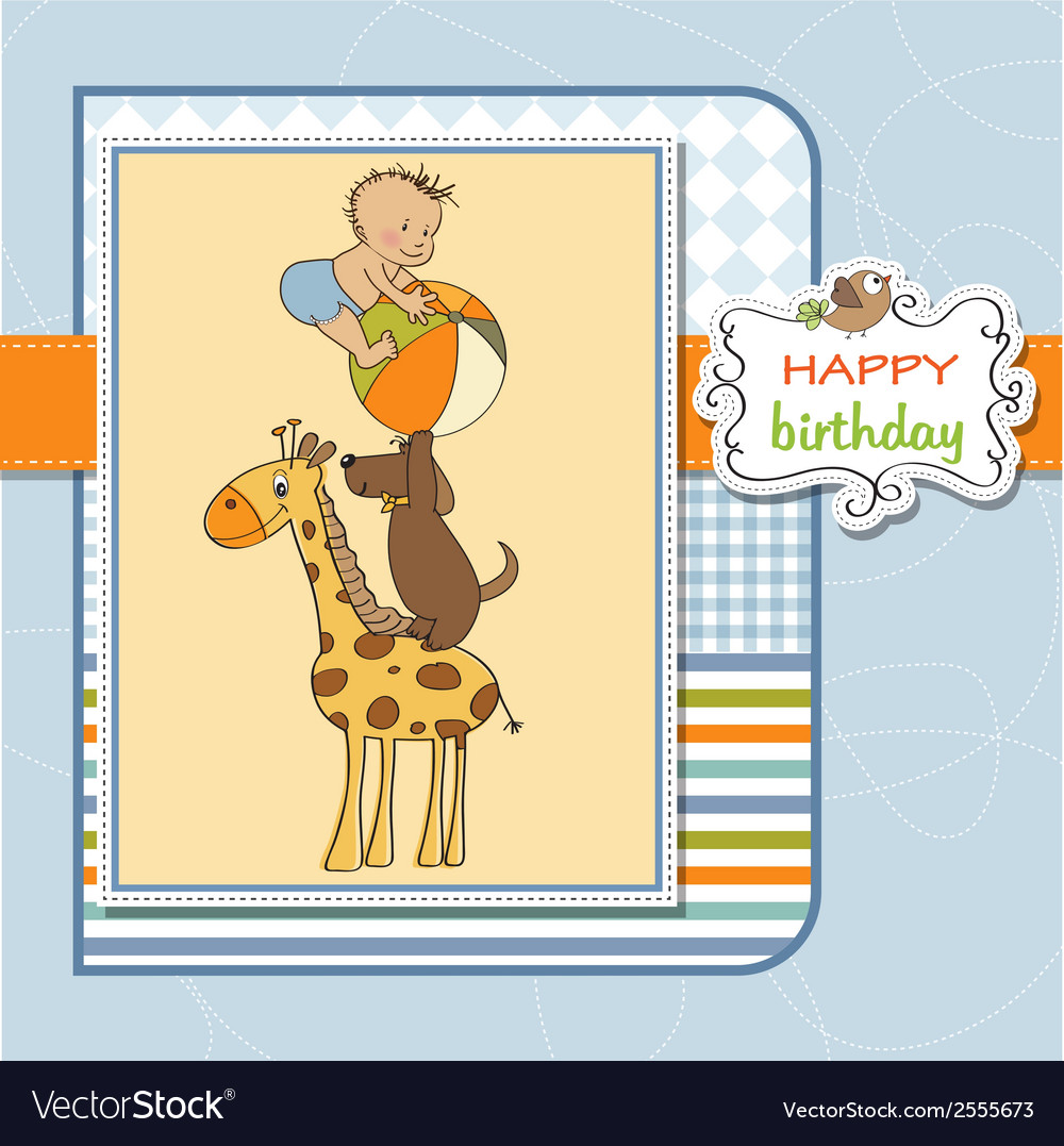 Funny cartoon birthday greeting card vector | Price: 1 Credit (USD $1)