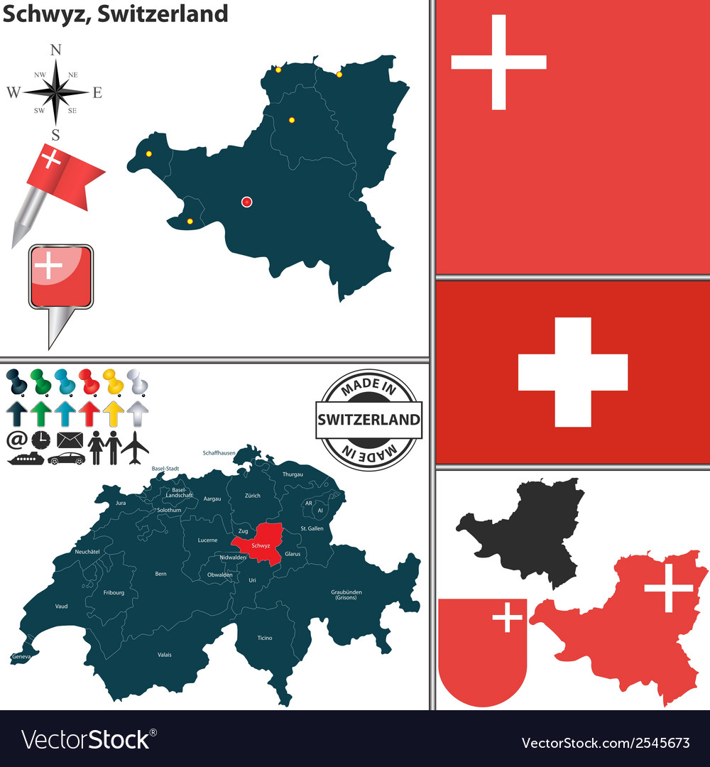Map of schwyz vector | Price: 1 Credit (USD $1)