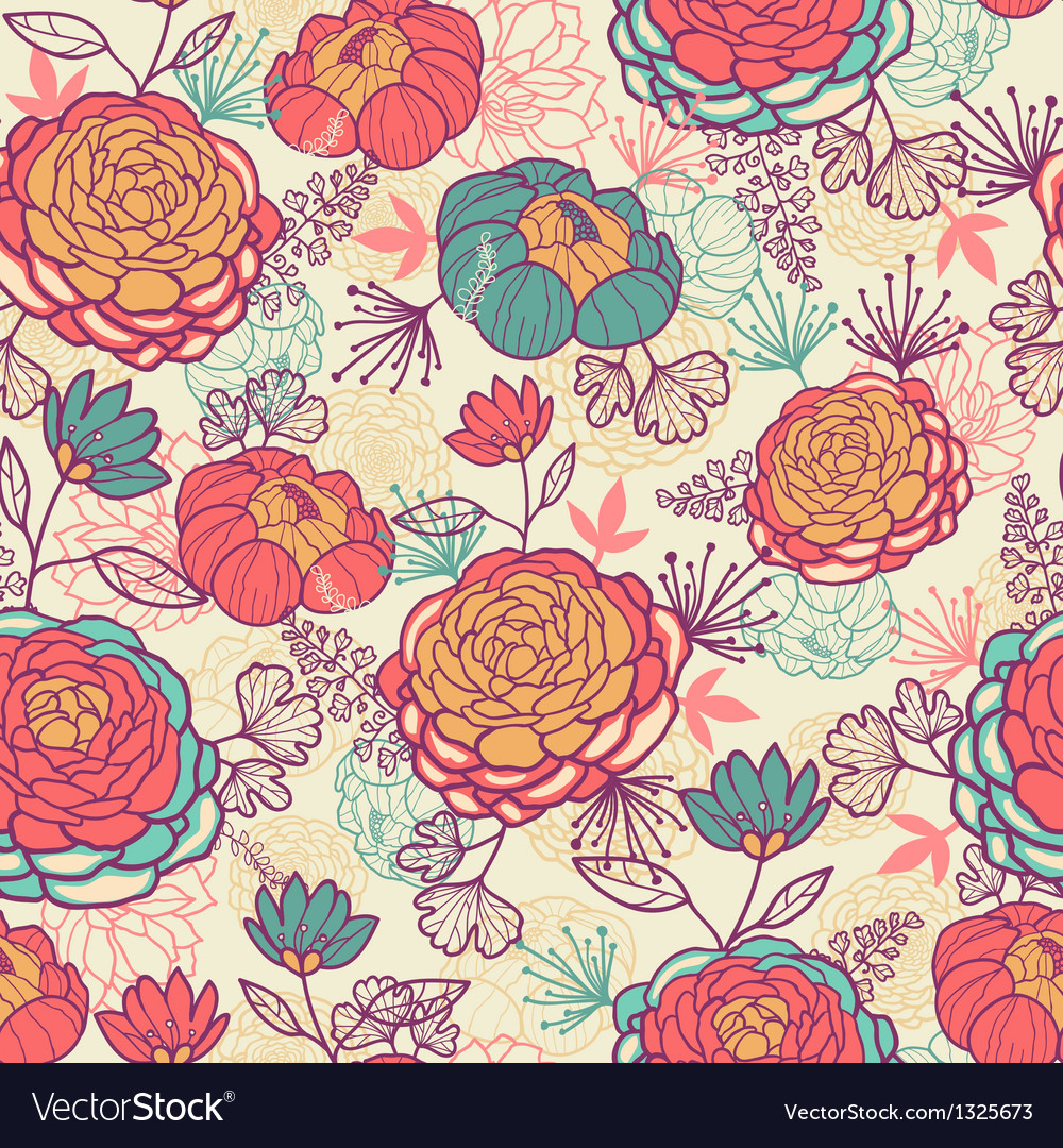 Peony flowers and leaves seamless pattern vector | Price: 1 Credit (USD $1)