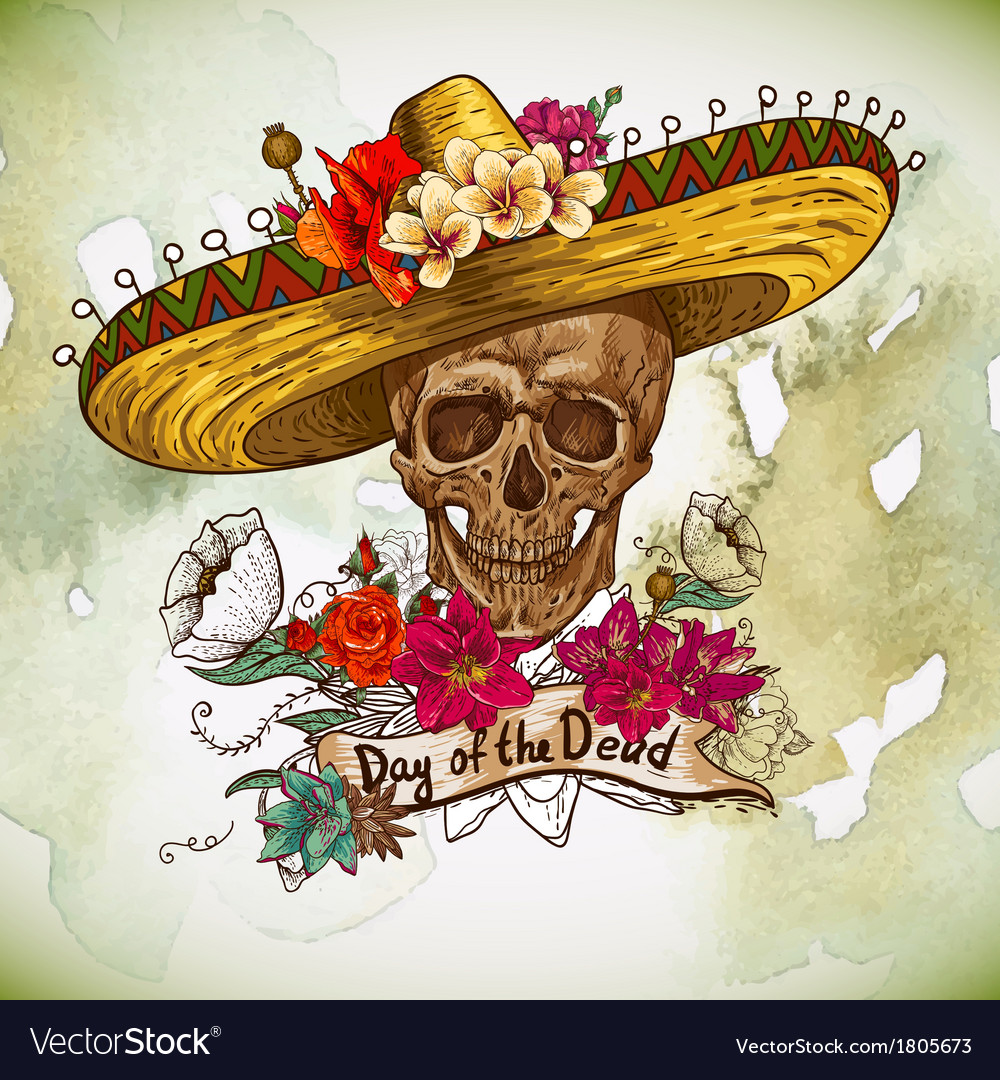 Skull in sombrero with flowers day of the dead vector | Price: 1 Credit (USD $1)