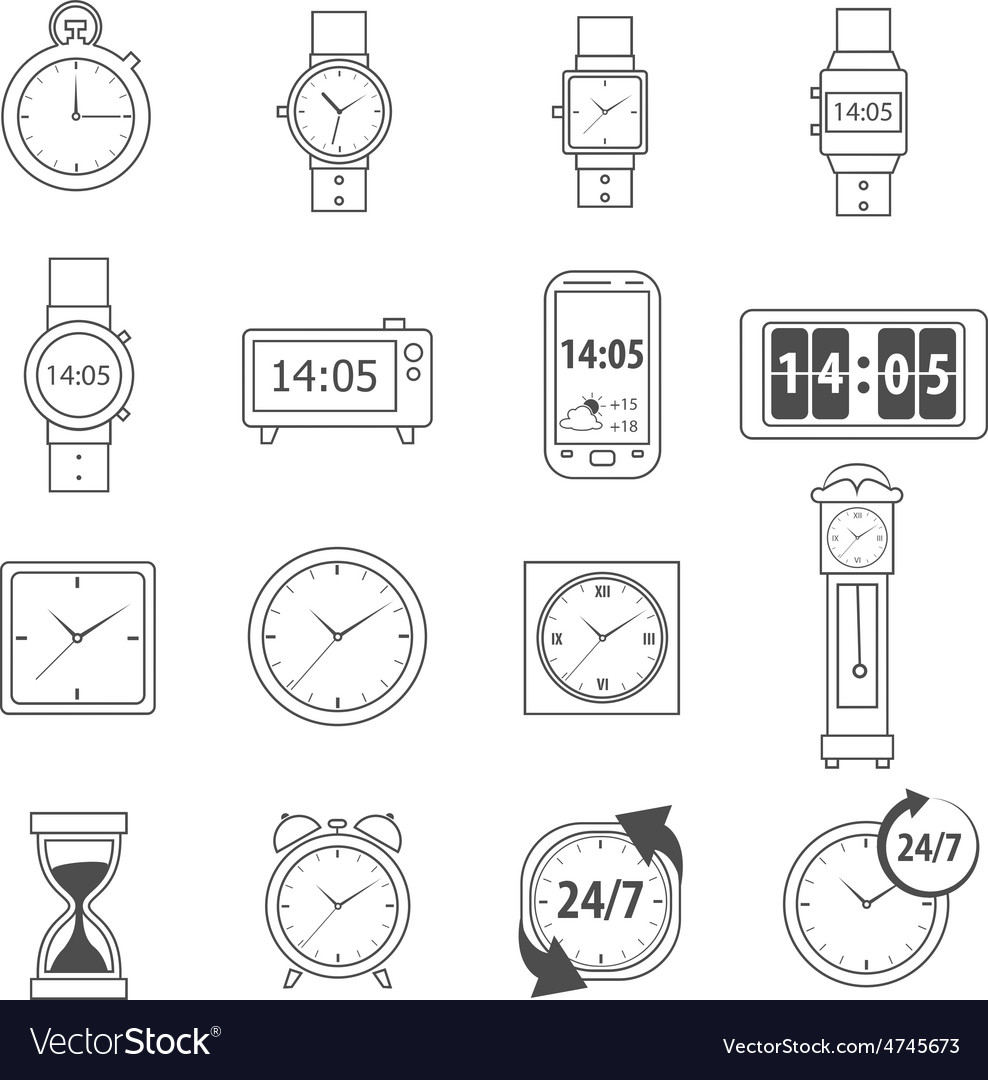 Time icons outline vector | Price: 1 Credit (USD $1)