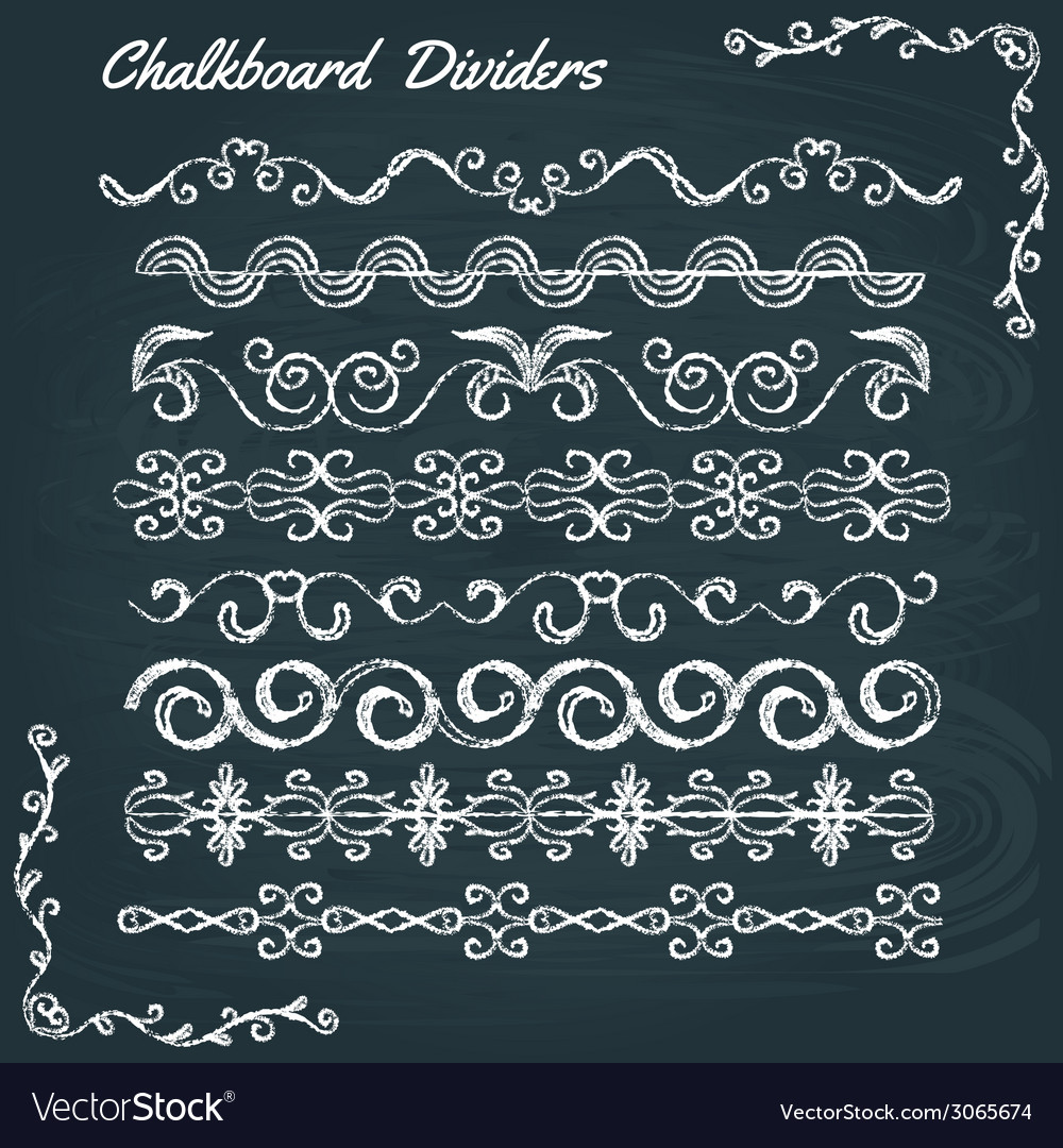 Collection of chalkboard dividers vector | Price: 1 Credit (USD $1)