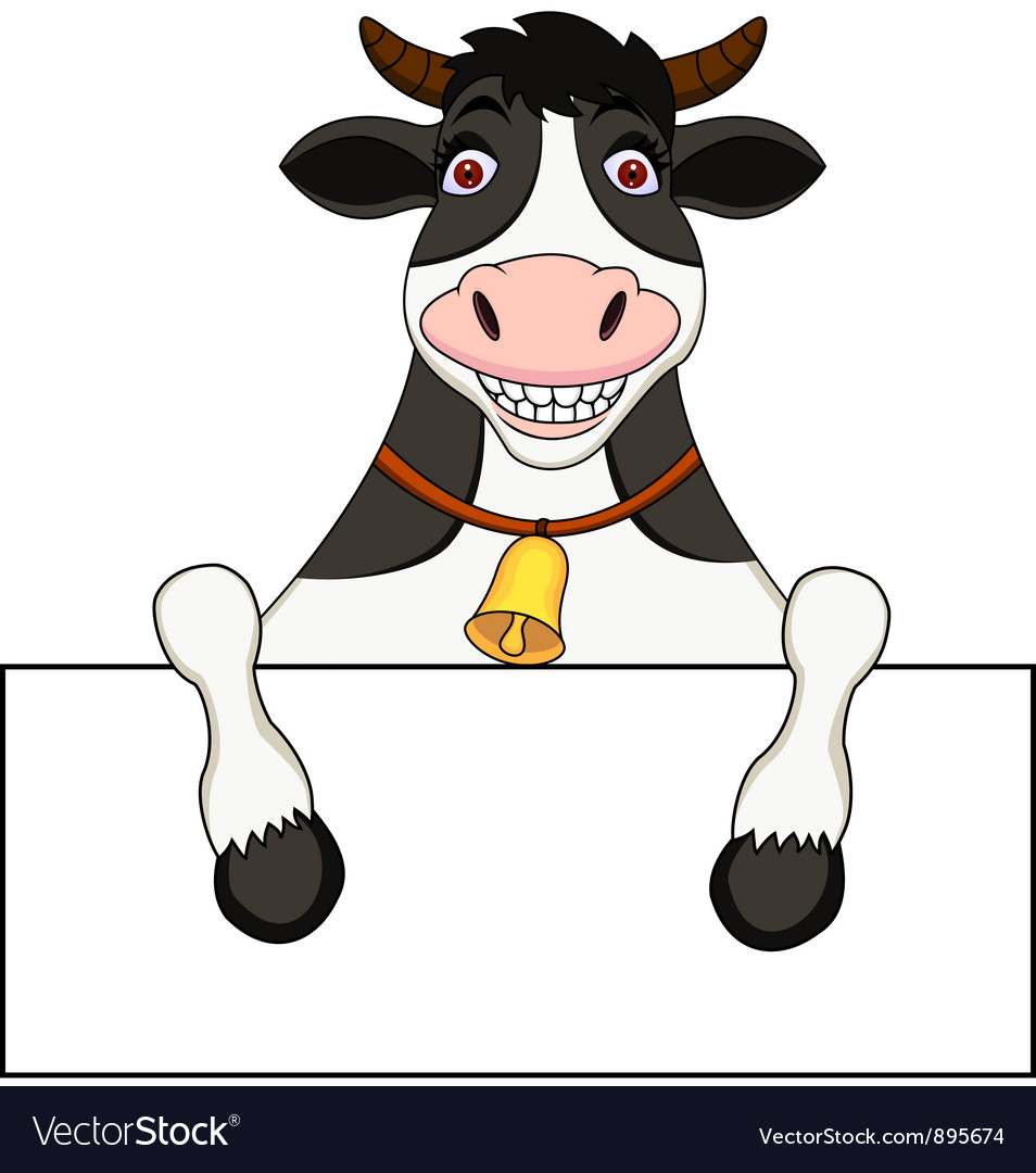 Cow with blank sign vector | Price: 3 Credit (USD $3)