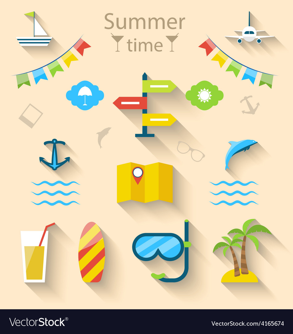 Flat colorful set icons of travel on holiday vector   Price: 1 Credit (USD $1)
