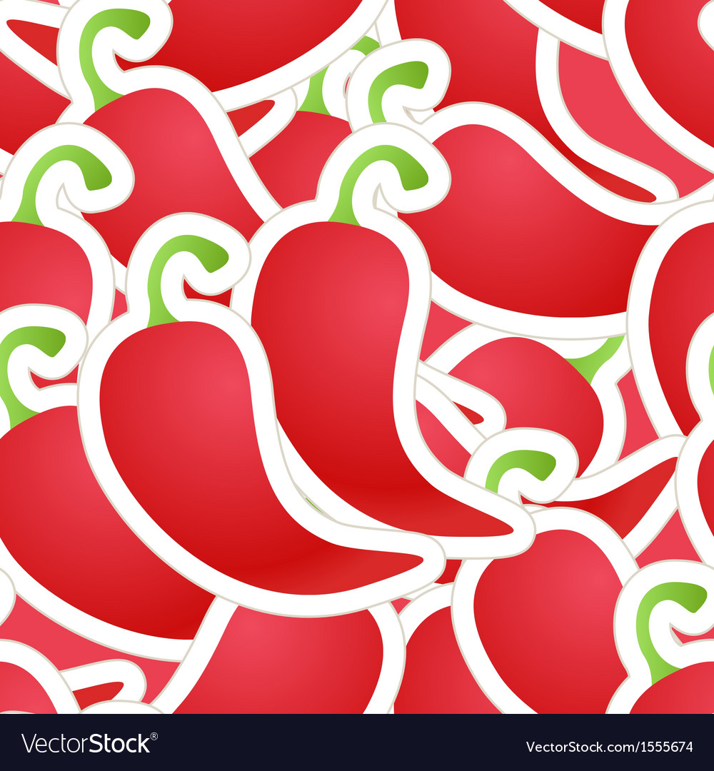 Hot red pepper seamless background vector | Price: 1 Credit (USD $1)