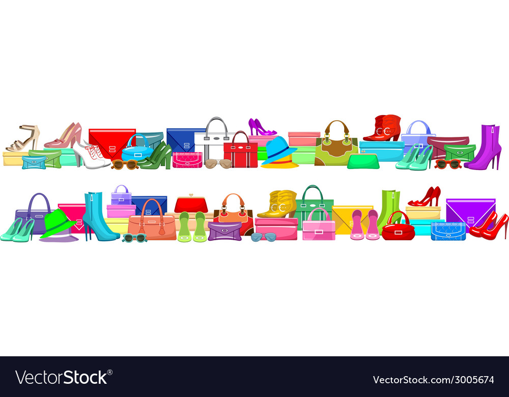 Image of a fashion banner with bags and shoes vector | Price: 1 Credit (USD $1)