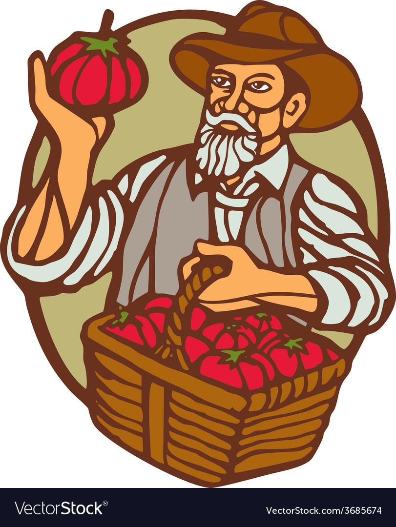 Organic farmer tomato basket woodcut linocut vector | Price: 1 Credit (USD $1)