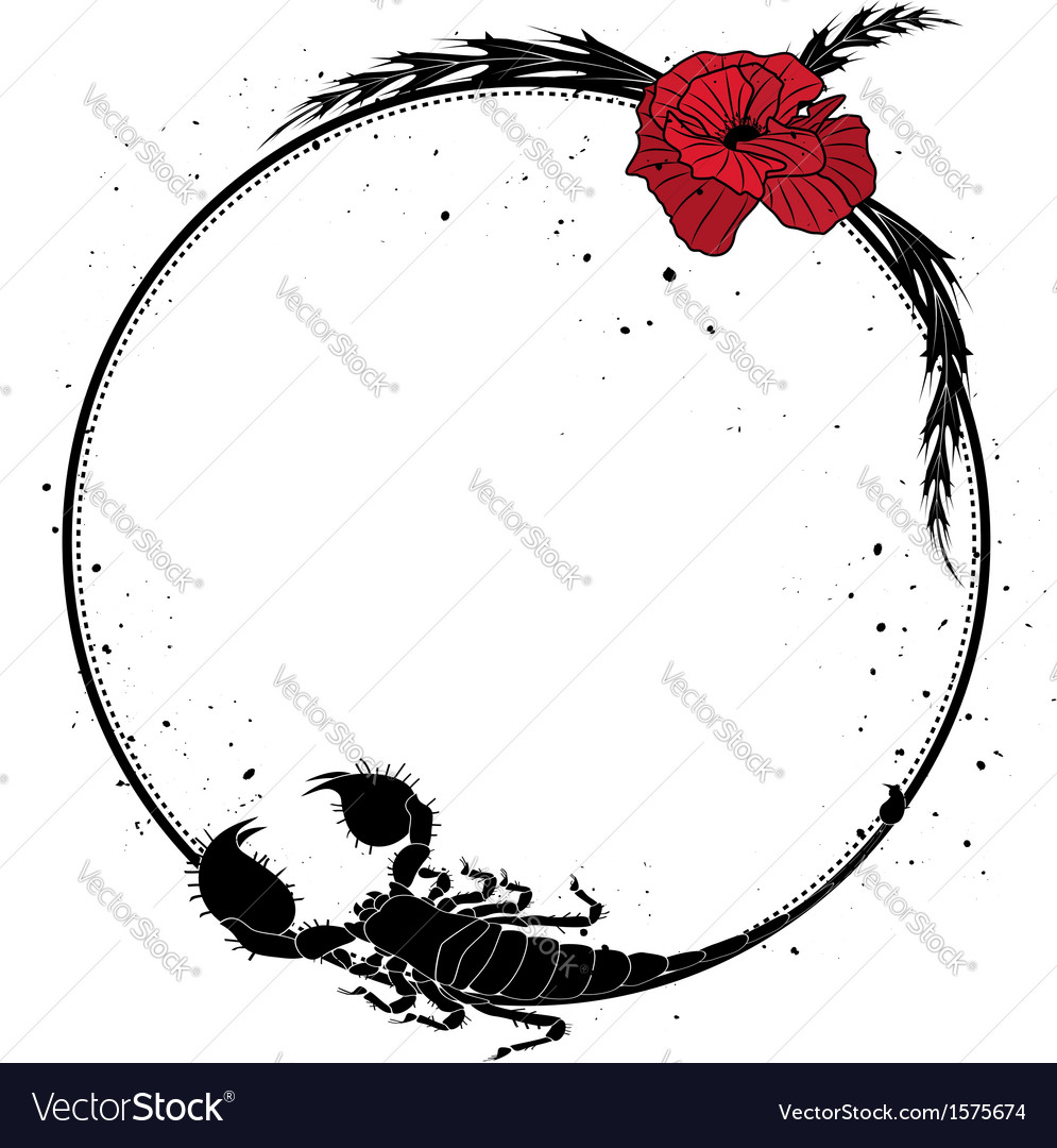 Red poppy and scorpion vector | Price: 1 Credit (USD $1)