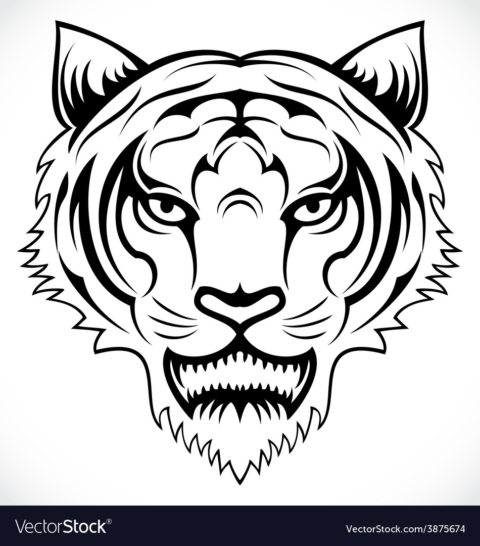 Tiger head tattoo vector | Price: 1 Credit (USD $1)