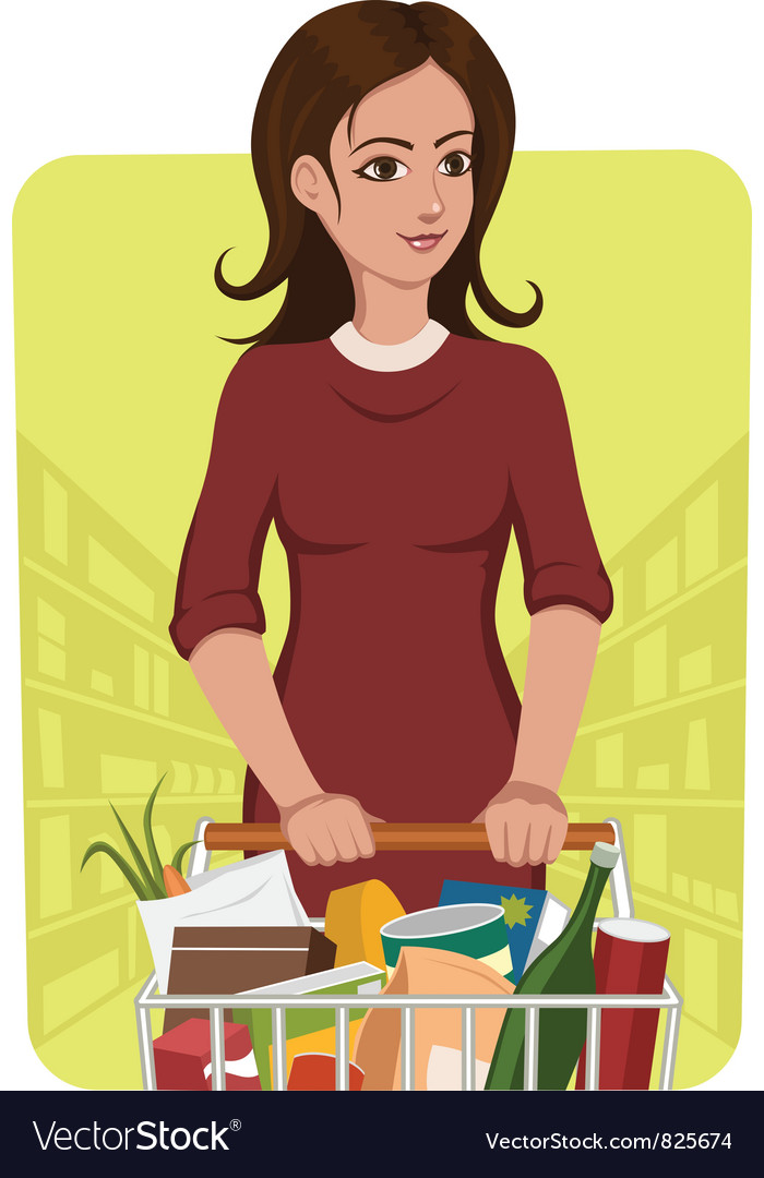 Woman with shopping cart vector | Price: 3 Credit (USD $3)