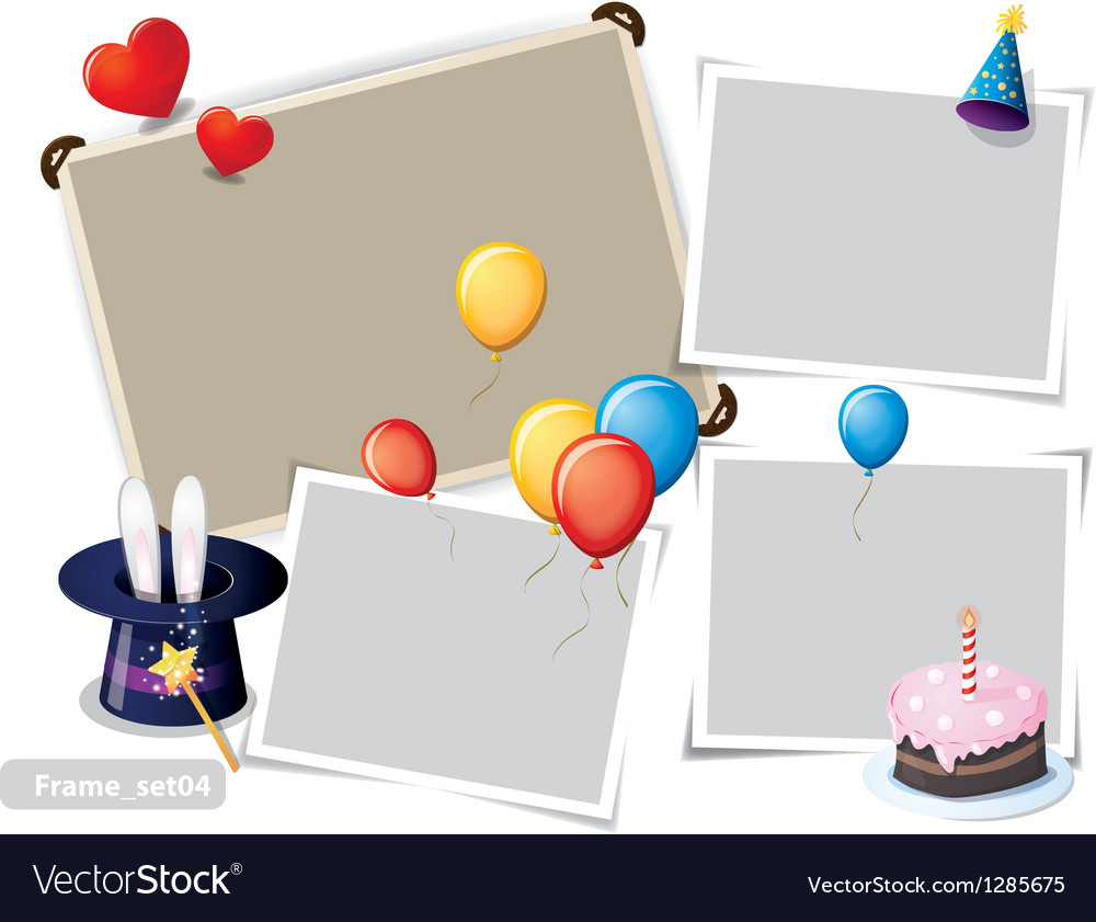 Birthday party photo frames vector | Price: 1 Credit (USD $1)