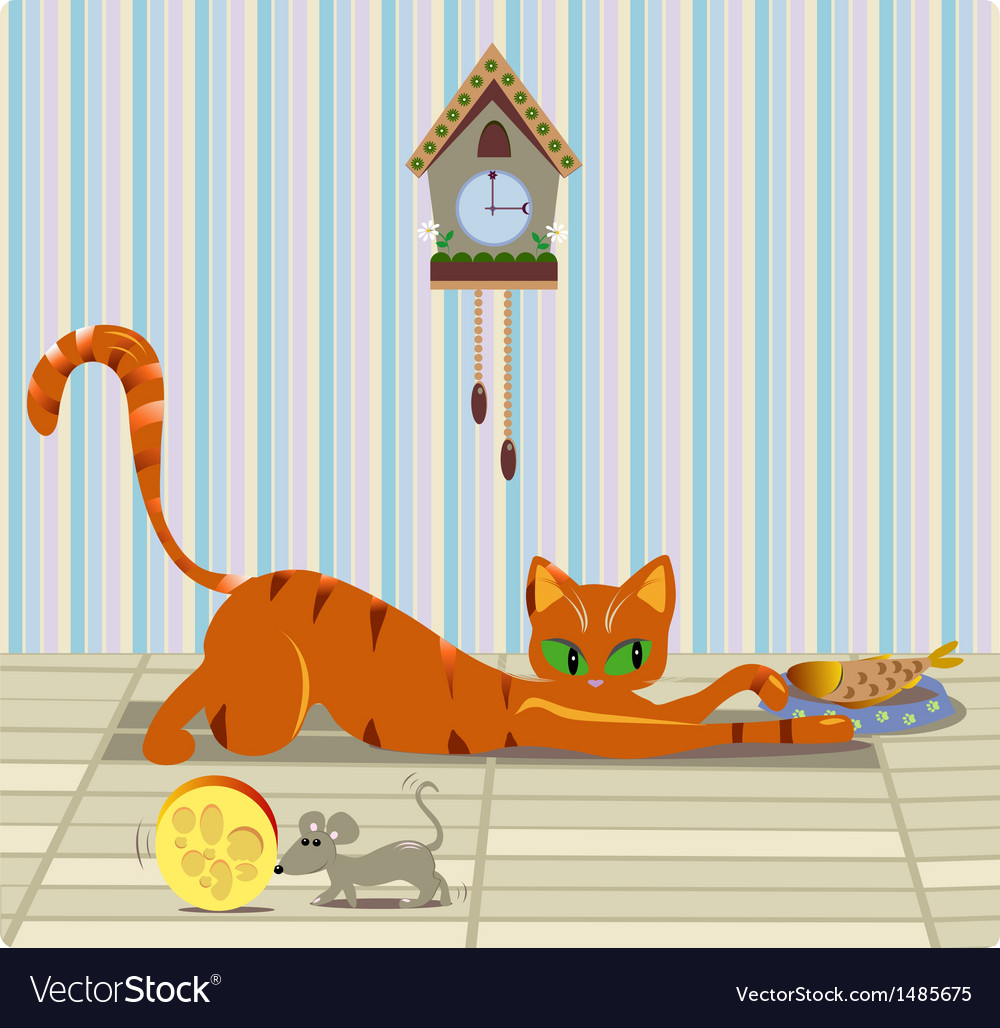Cat and mouse having lunch vector | Price: 1 Credit (USD $1)
