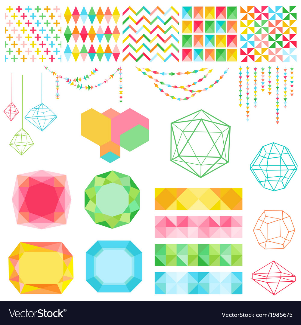 Colorful geometric set vector | Price: 1 Credit (USD $1)