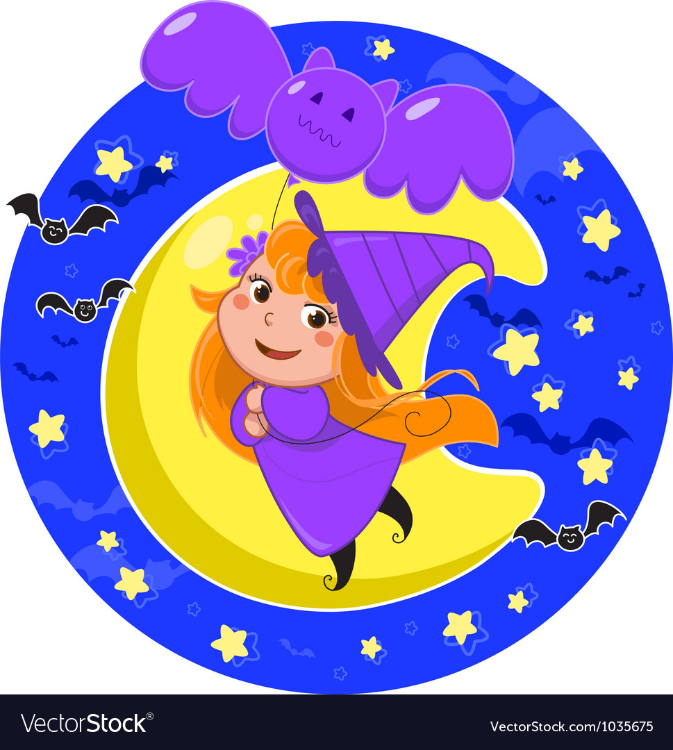 Cute halloween witch flying with bat balloon vector | Price: 1 Credit (USD $1)
