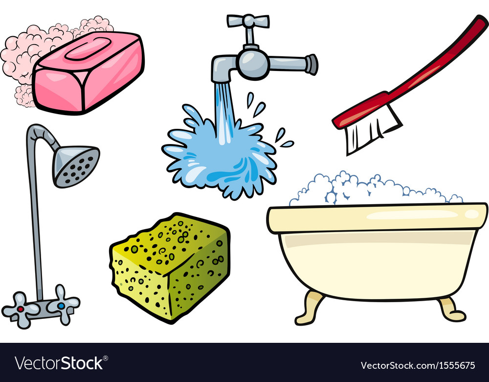 Hygiene objects cartoon set vector | Price: 1 Credit (USD $1)