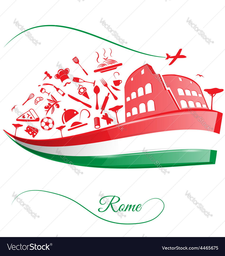 Rome colosseum with food element on italian flag vector | Price: 1 Credit (USD $1)