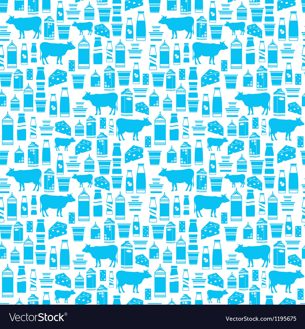 Seamless dairy products pattern vector | Price: 1 Credit (USD $1)