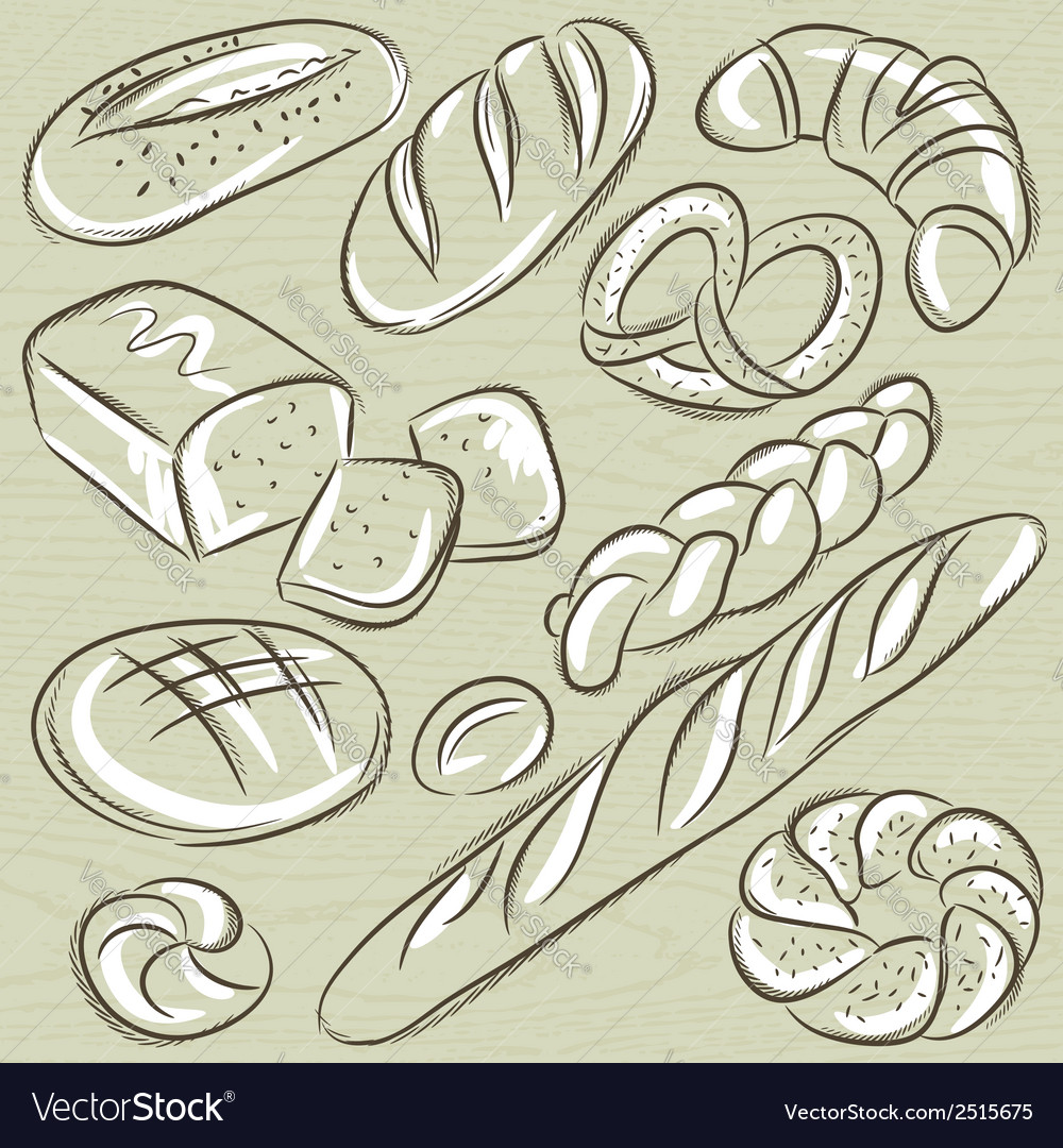 Set of different breads vector | Price: 1 Credit (USD $1)