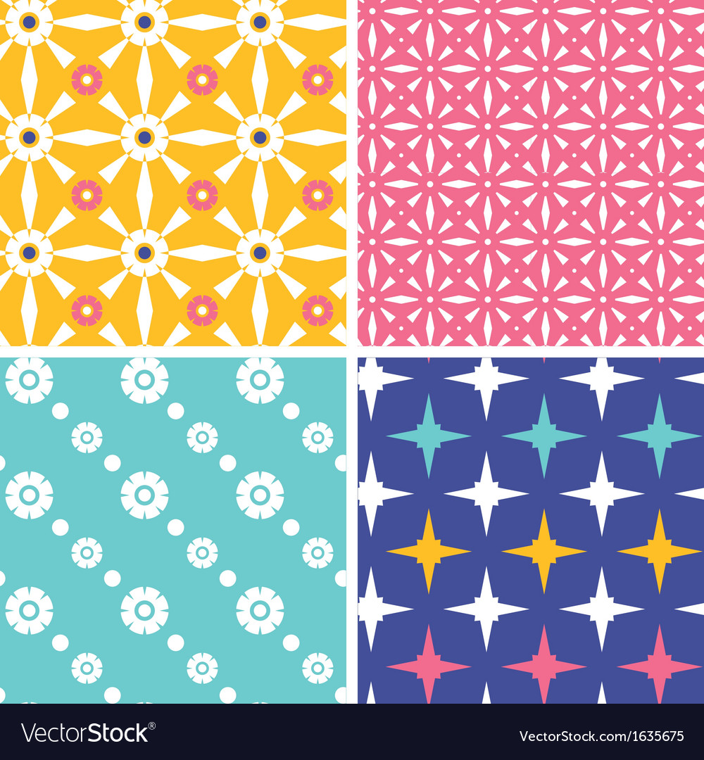 Set of four blue yellow pink geometric patterns vector | Price: 1 Credit (USD $1)