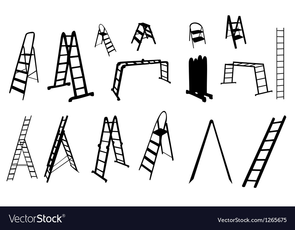 Set of ladder silhouette vector | Price: 1 Credit (USD $1)