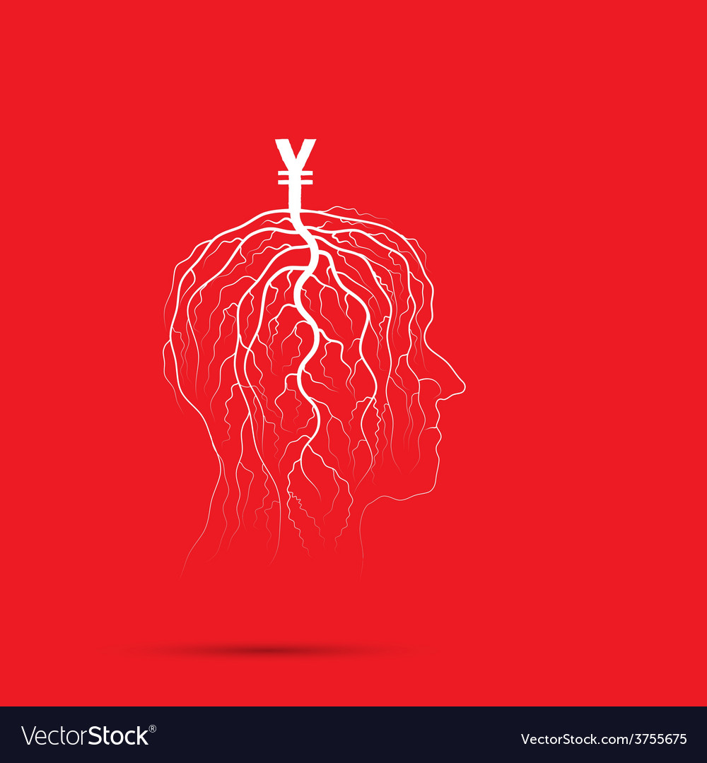 Tree of business shoot grow on human head vector | Price: 1 Credit (USD $1)