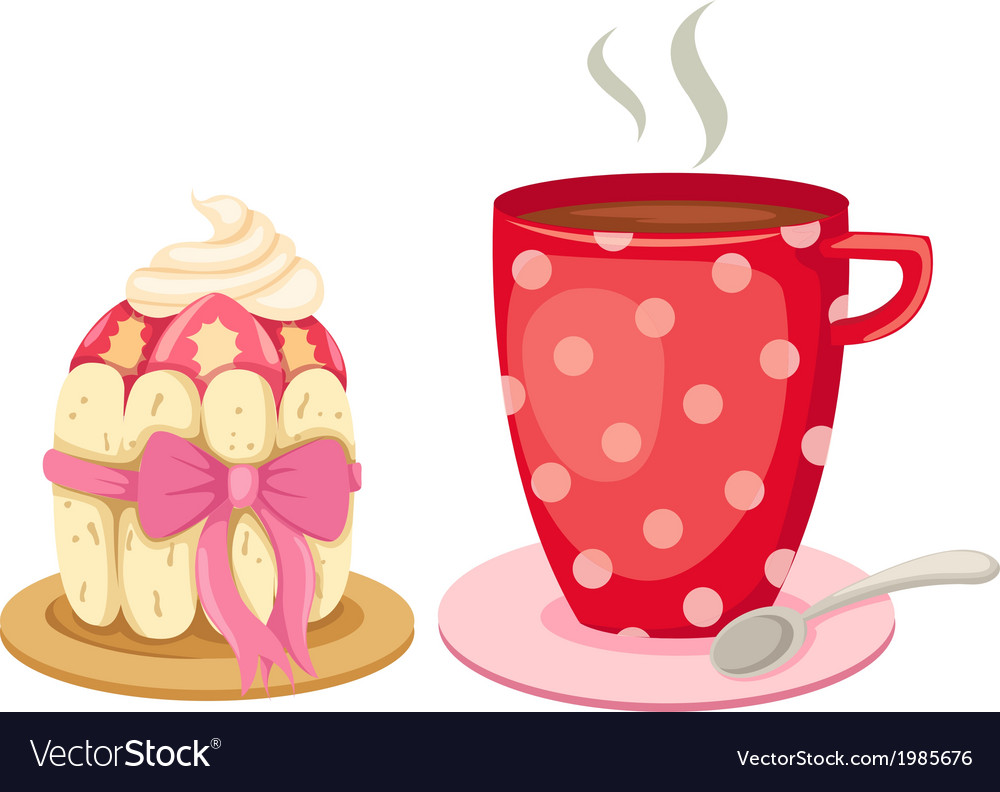 Afternoon tea with a gourmet cupcake vector | Price: 1 Credit (USD $1)