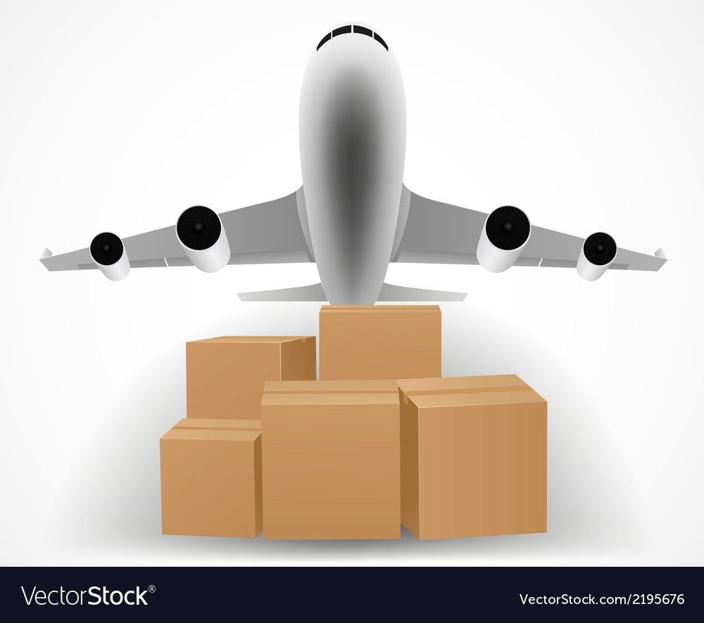 Airplane delivery concept with pile of packages vector | Price: 1 Credit (USD $1)
