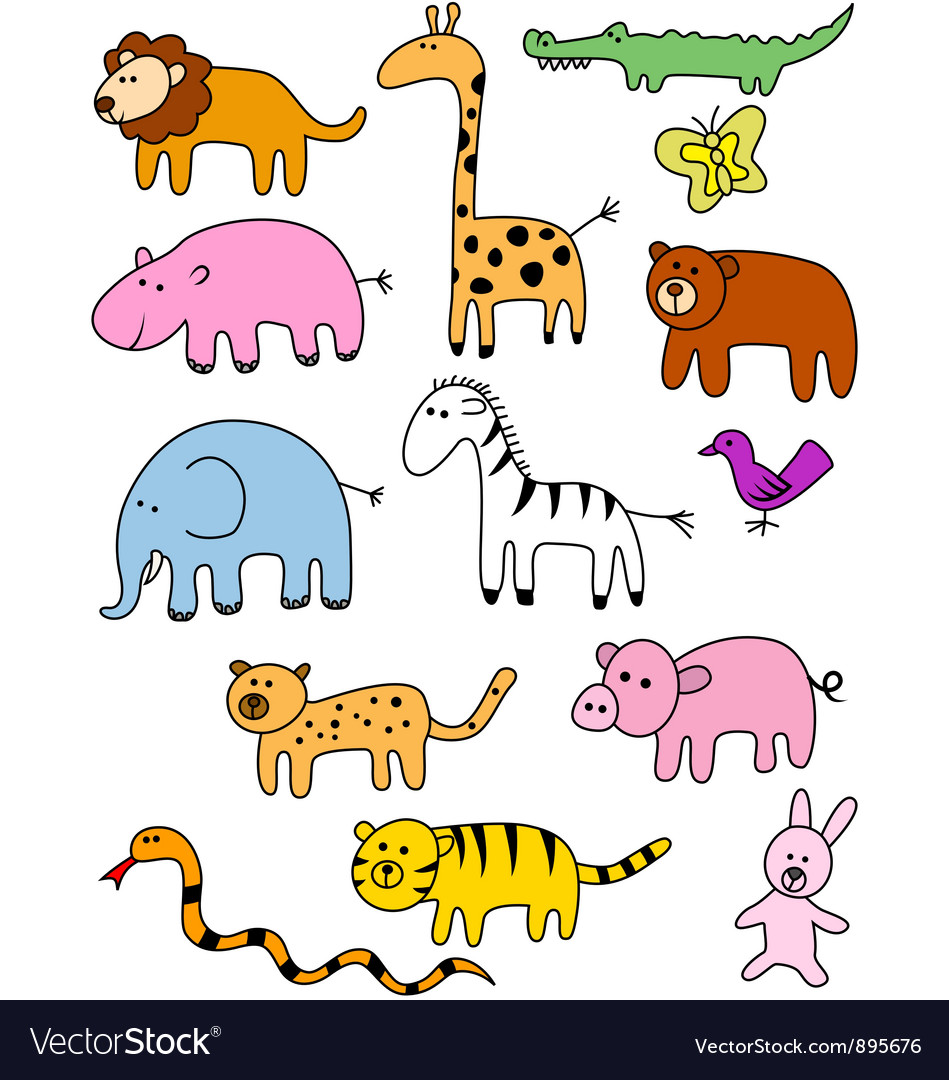 Animal doodle collection vector | Price: 1 Credit (USD $1)