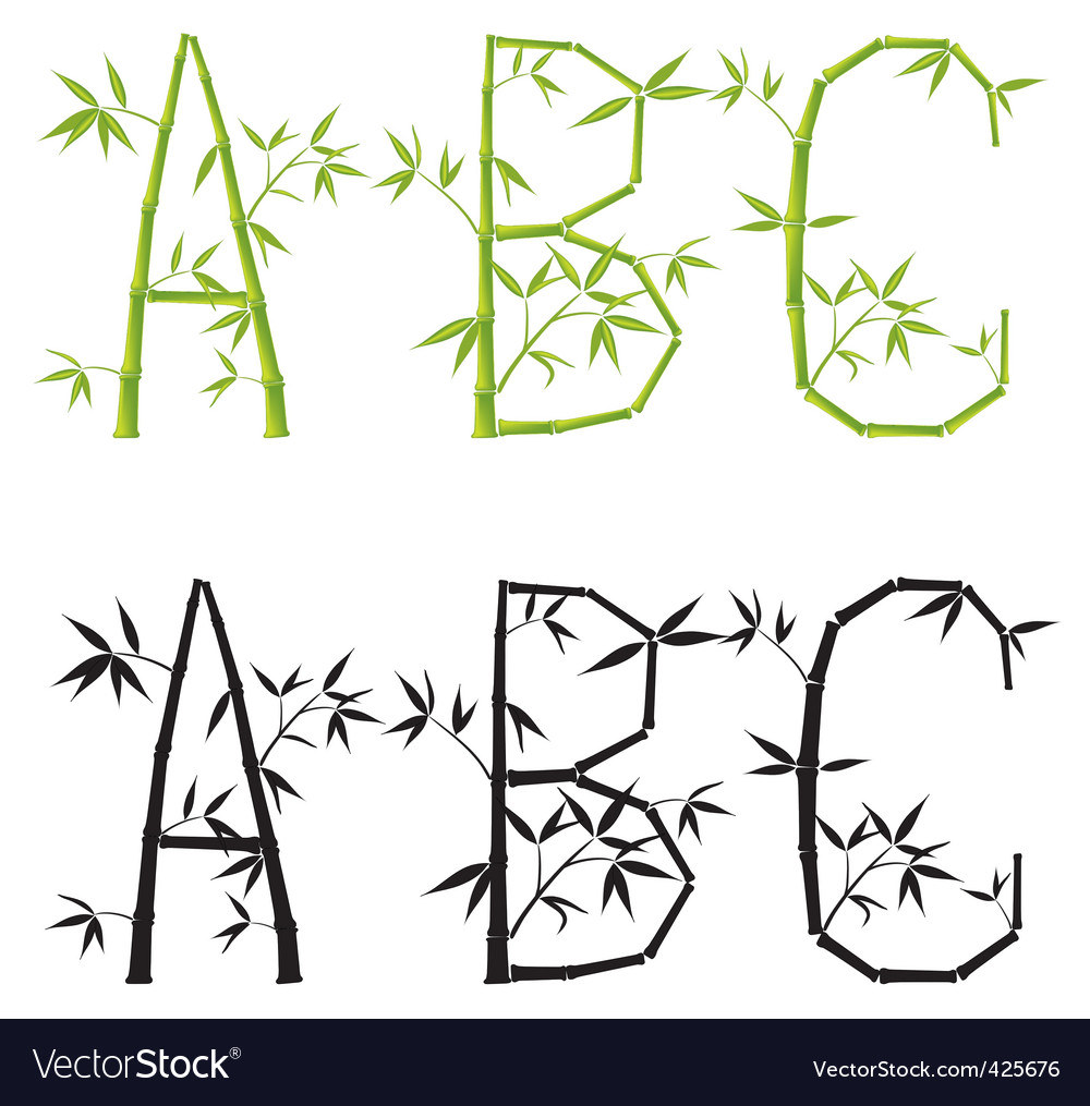 Bamboo letters set mesh vector