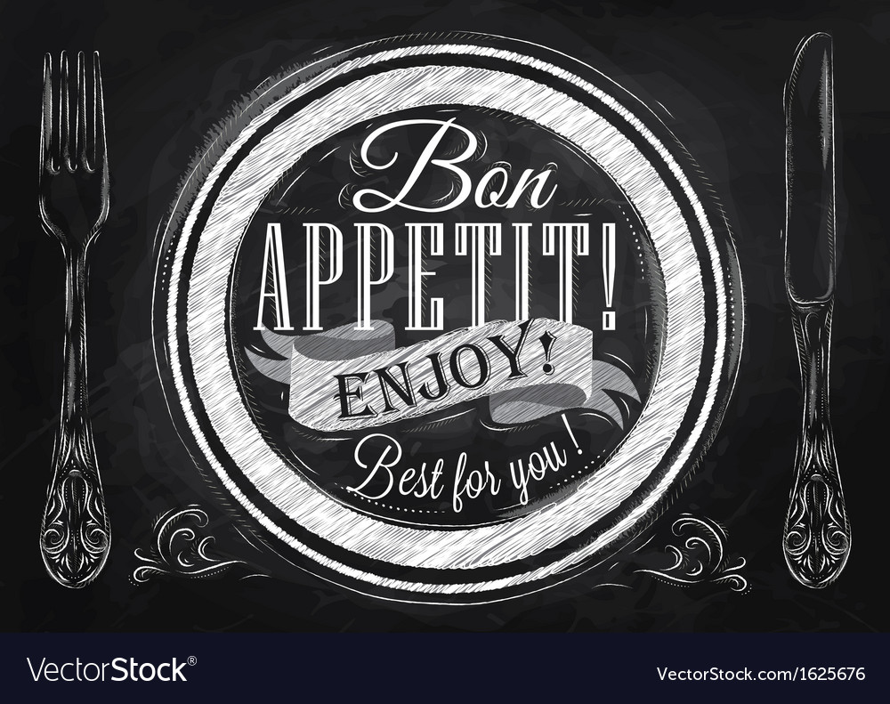 Bon appetit chalk vector | Price: 1 Credit (USD $1)