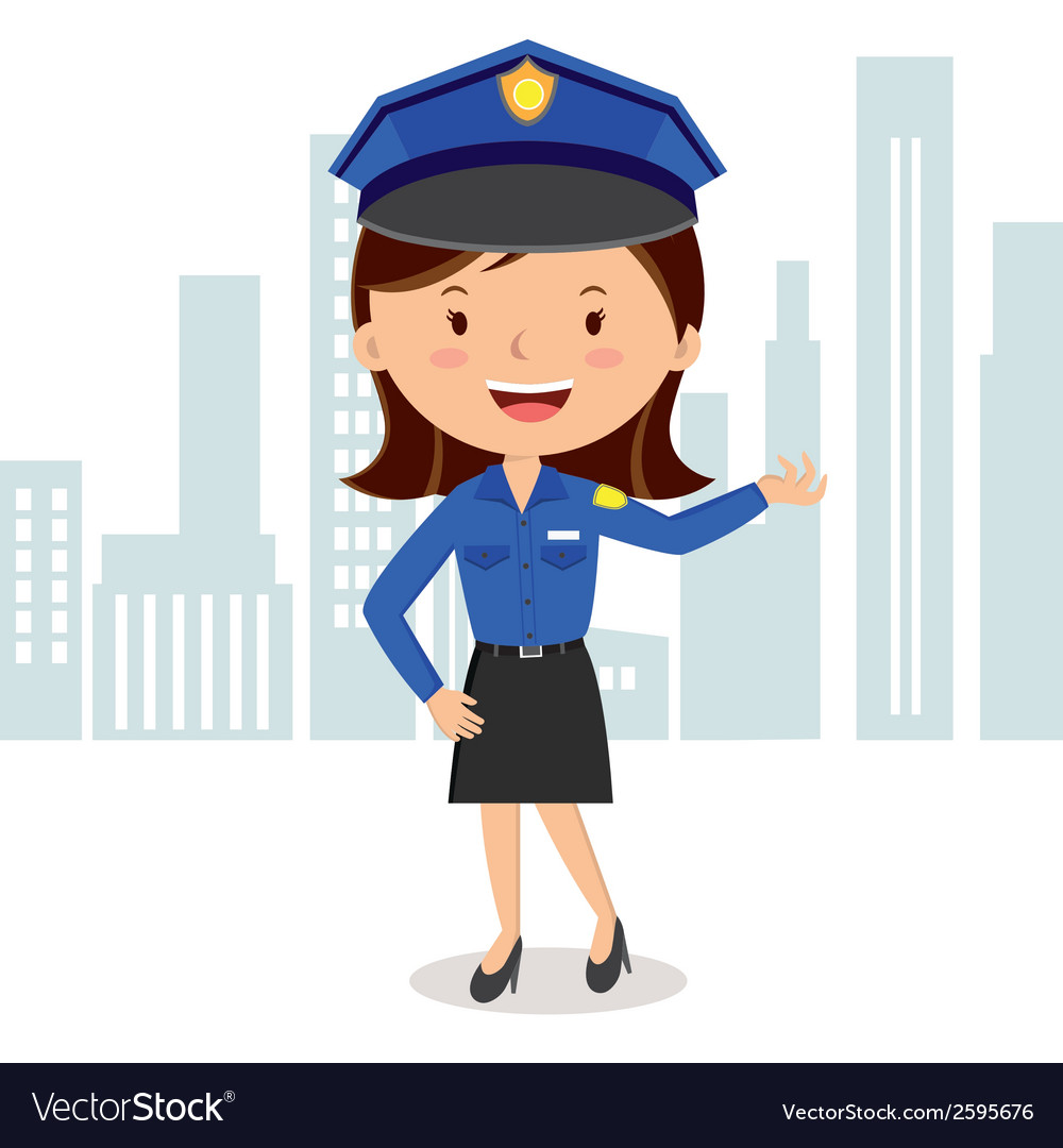 Cheerful policewoman vector | Price: 1 Credit (USD $1)