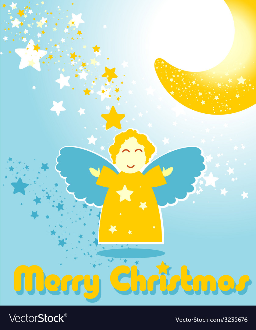 Christmas card with funny angel and the moon vector | Price: 1 Credit (USD $1)
