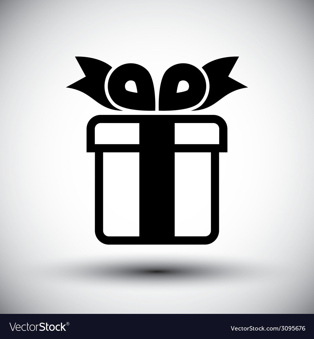 Gift box simple single color icon isolated on vector | Price: 1 Credit (USD $1)