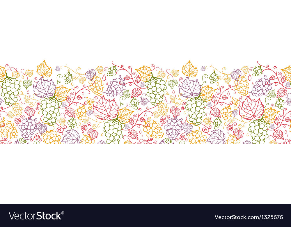 Line art grape vines horizontal seamless pattern vector | Price: 1 Credit (USD $1)