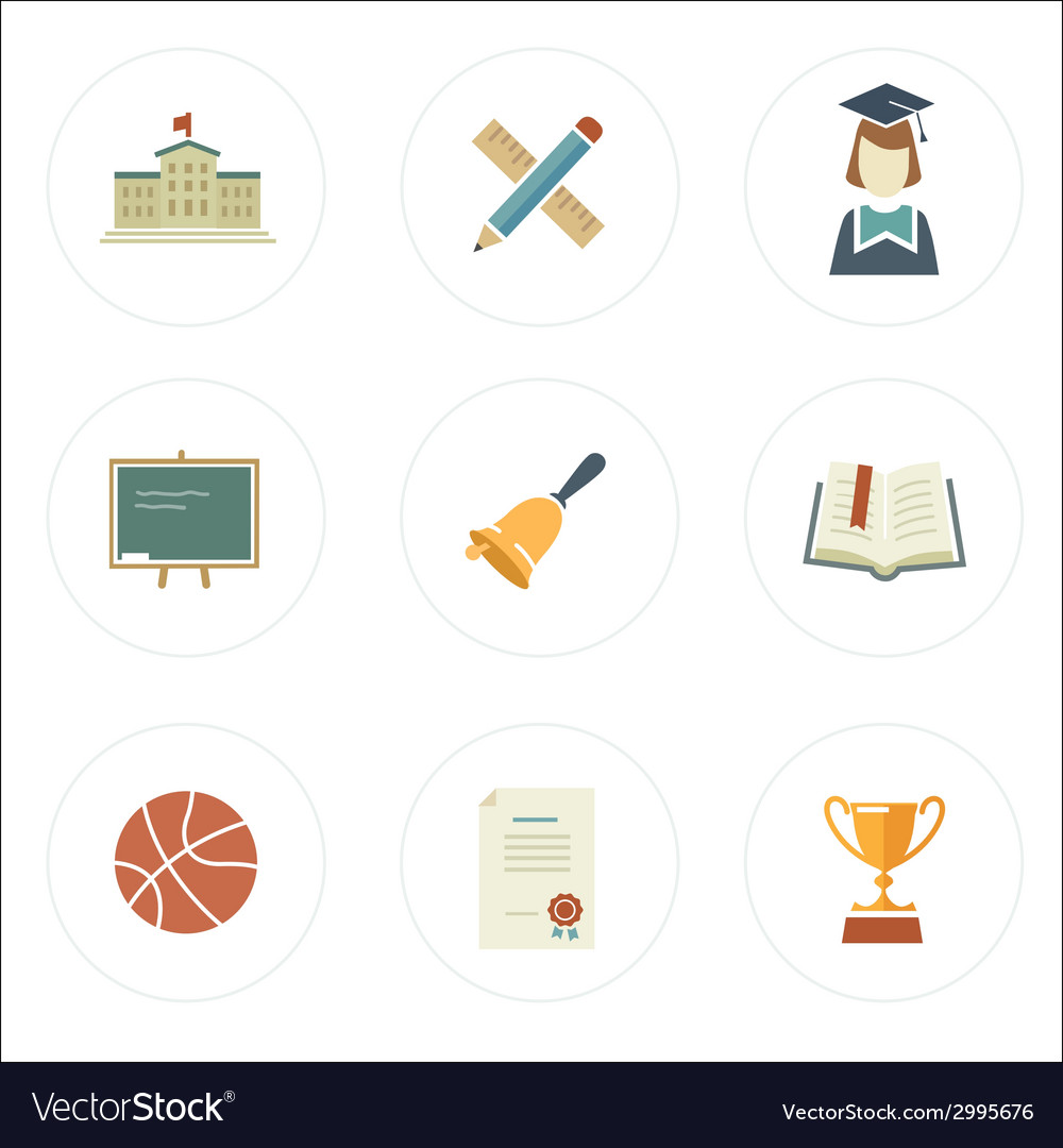 Modern flat style school icons vector | Price: 1 Credit (USD $1)