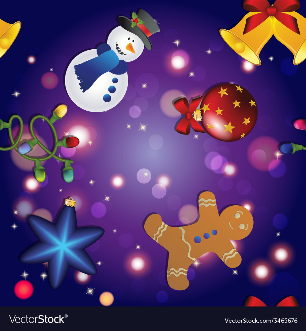 New year pattern with snowman gingerbread man bell vector | Price: 1 Credit (USD $1)