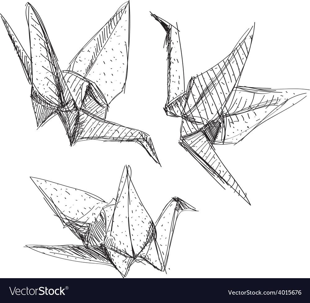 Origami paper cranes set sketch the black line on vector | Price: 1 Credit (USD $1)