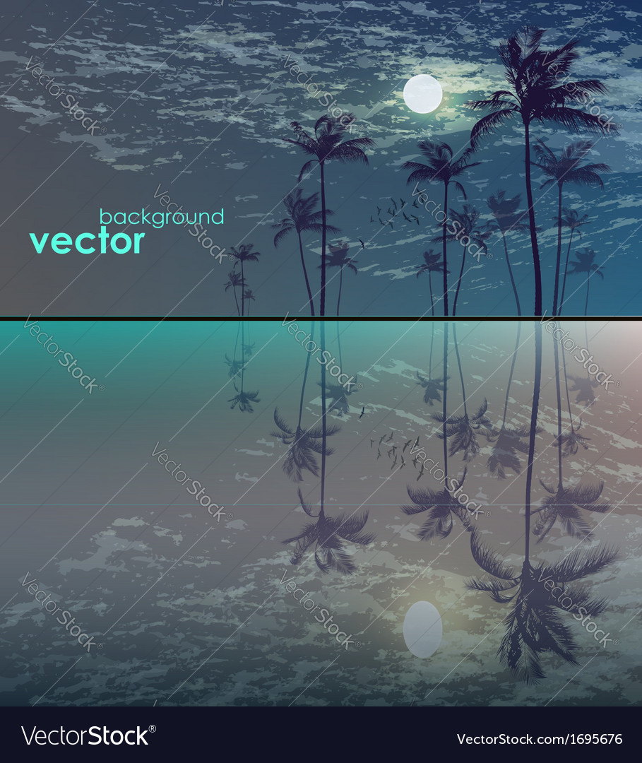 Palm trees in moonlight vector | Price: 1 Credit (USD $1)