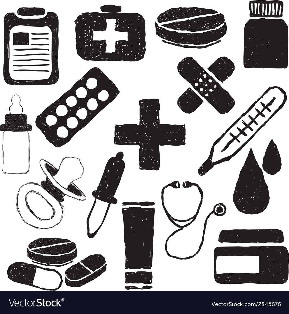 Pharmacy doodle images vector | Price: 1 Credit (USD $1)