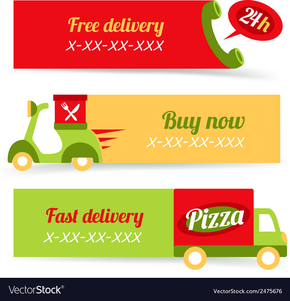 Pizza fast delivery banners vector | Price: 1 Credit (USD $1)