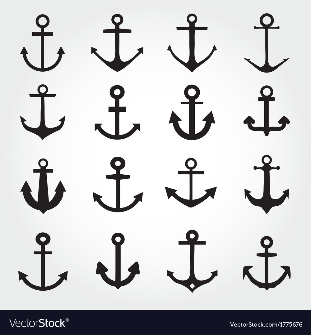 Set of anchor symbols or logo template vector | Price: 1 Credit (USD $1)