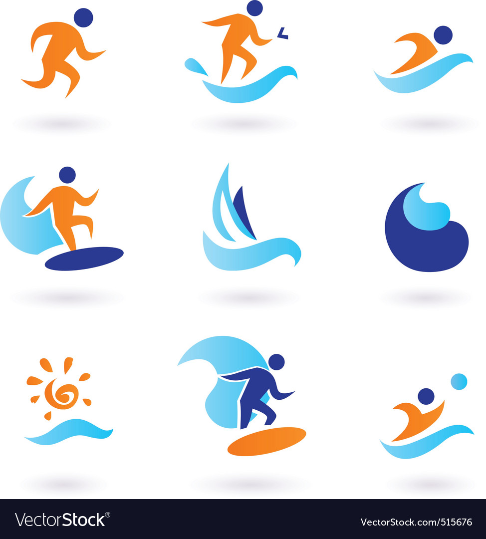 Summer swimming surfing icons vector | Price: 1 Credit (USD $1)