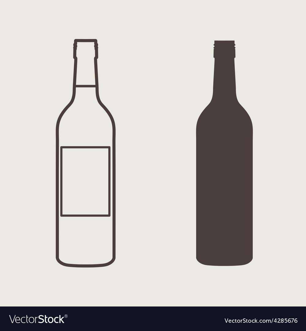 Wine bottle sign set bottle icon vector | Price: 1 Credit (USD $1)