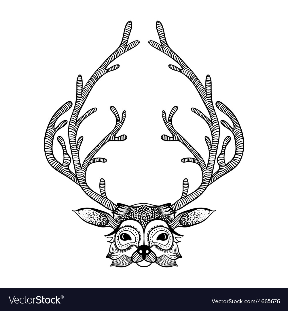 Zentangle stylized deer hand drawn sketch for vector | Price: 1 Credit (USD $1)