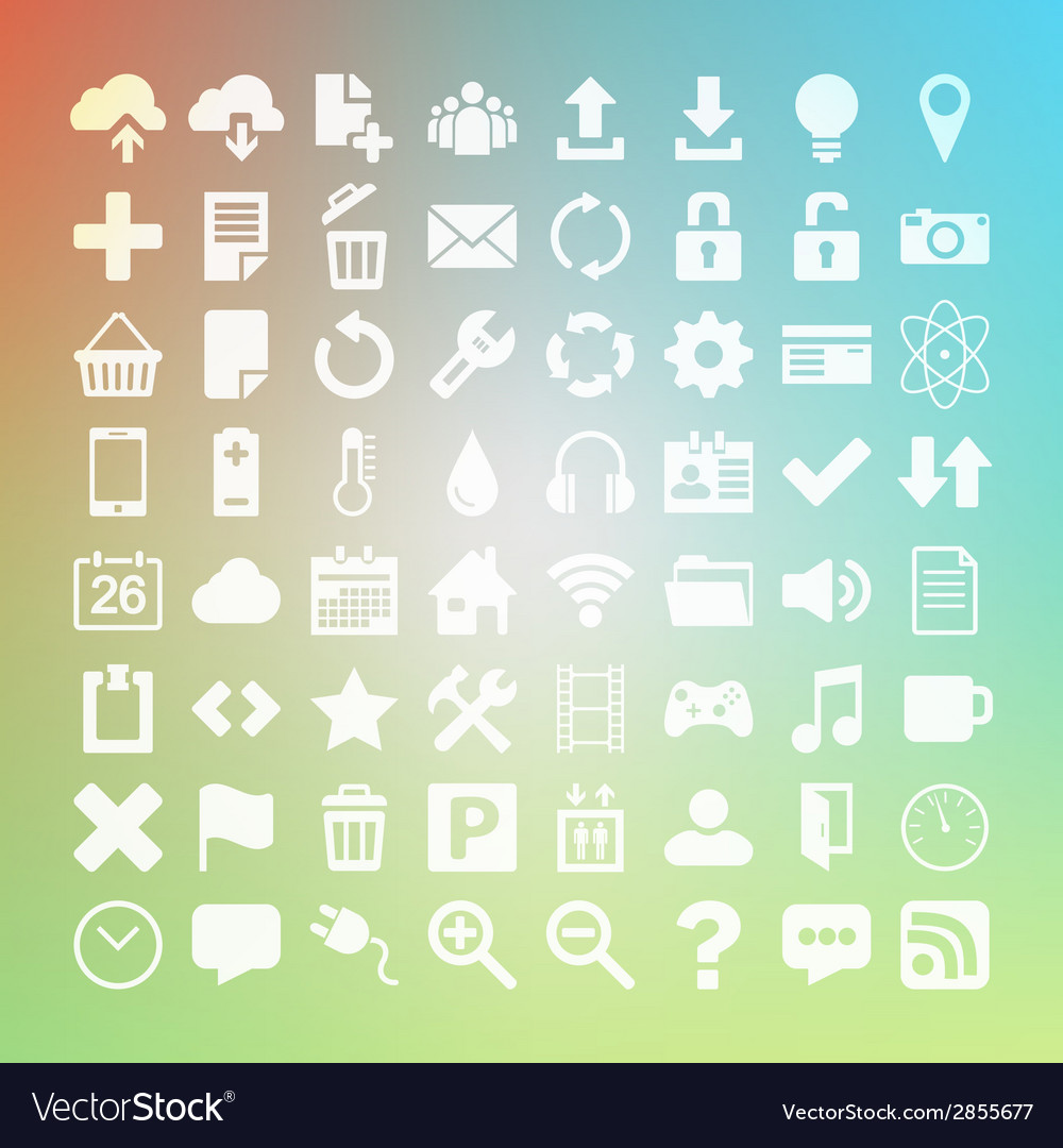 64 universal flat icon set for web desighers ui vector | Price: 1 Credit (USD $1)