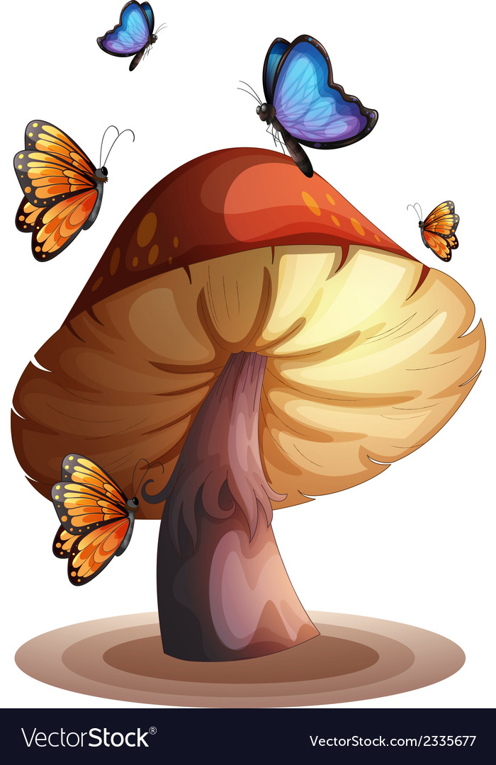A big mushroom with butterflies vector | Price: 1 Credit (USD $1)