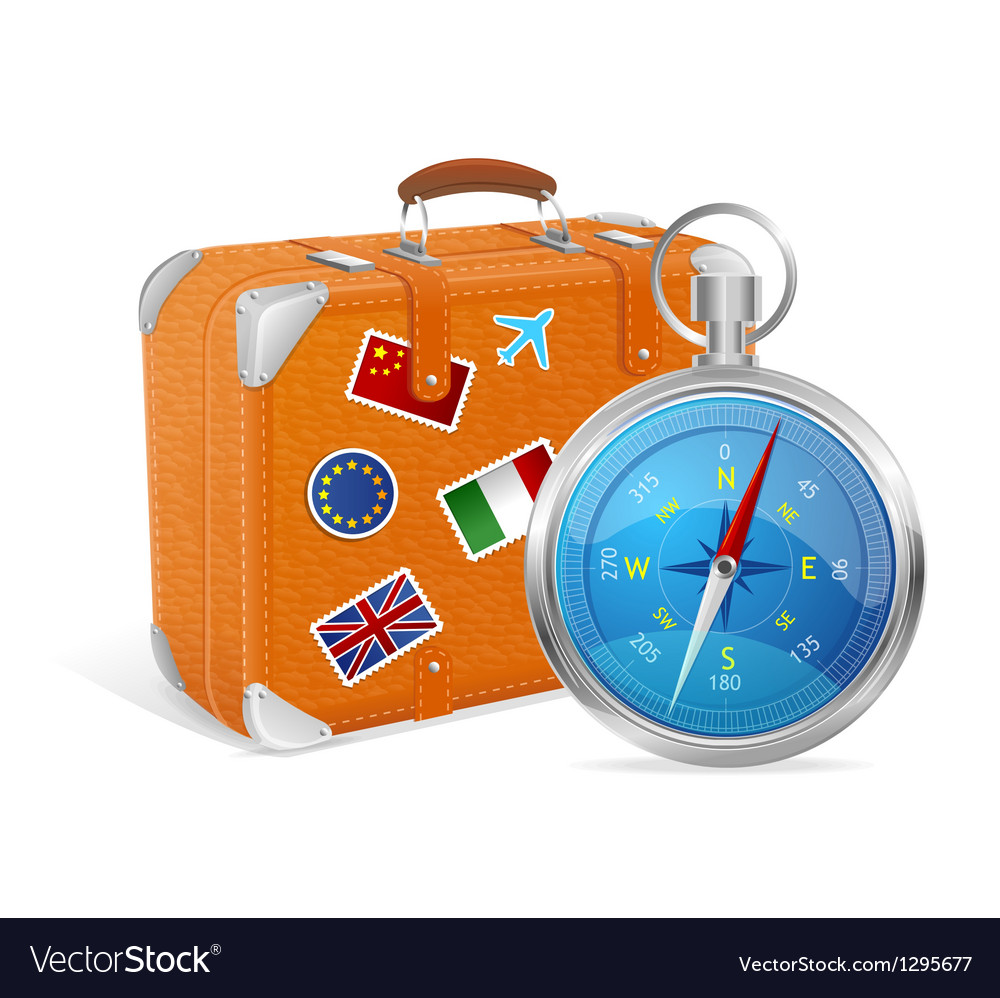 Blue compass and suitcase vector | Price: 3 Credit (USD $3)