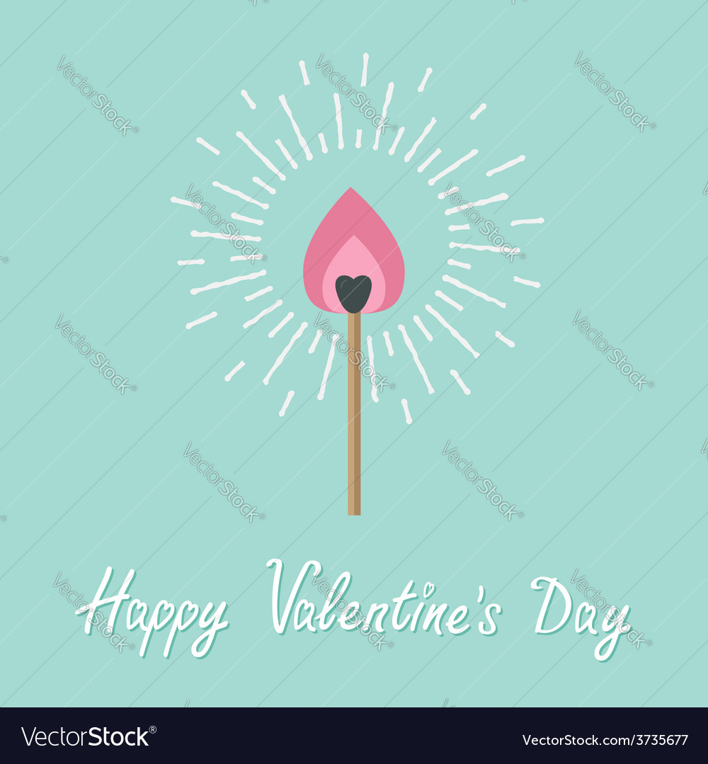 Burning love match with pink fire light shining vector | Price: 1 Credit (USD $1)